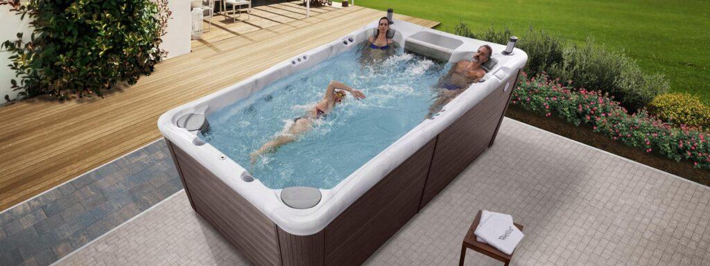 Джакузи спа бассейн для плавания с системой противотока для поверхности или заглубления Danube W-Flow danube swimspa outdoor