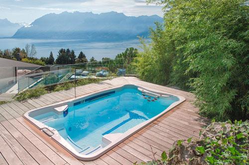 Компактный встроенный плавательный спа бассейн джакузи с гидромассажем и противотоком swimspa hydropool
